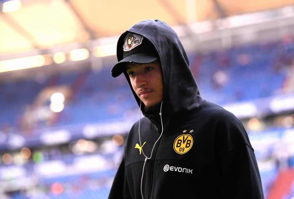 GELSENKIRCHEN, GERMANY - OCTOBER 26: Jadon Sancho of Borussia Dortmund looks on prior to the Bundesliga match between FC Schalke 04 and Borussia Dortmund at Veltins-Arena on October 26, 2019 in Gelsenkirchen, Germany. (Photo by Alex Grimm/Bongarts/Getty Images)