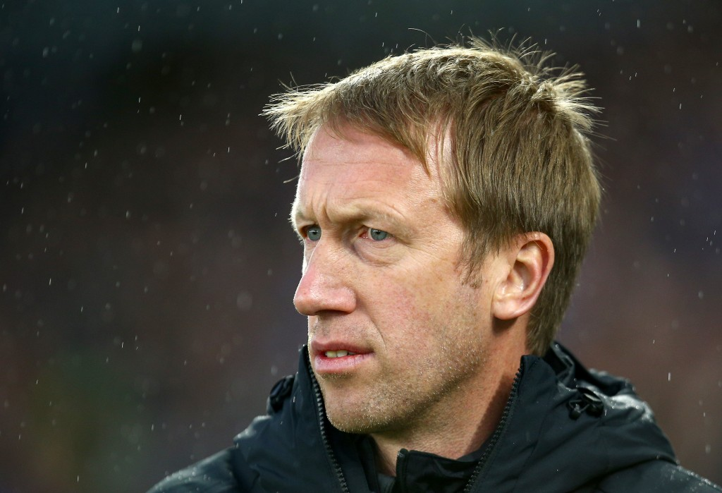 BRIGHTON, ENGLAND - NOVEMBER 23: Graham Potter, Manager of Brighton and Hove Albion looks on prior to the Premier League match between Brighton & Hove Albion and Leicester City at American Express Community Stadium on November 23, 2019 in Brighton, United Kingdom. (Photo by Charlie Crowhurst/Getty Images)