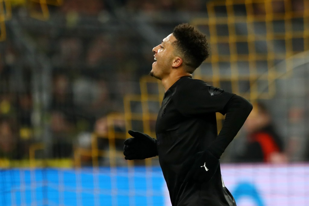DORTMUND, GERMANY - DECEMBER 07: Jadon Sancho of Borussia Dortmund celebrates after scoring his team's third goal during the Bundesliga match between Borussia Dortmund and Fortuna Duesseldorf at Signal Iduna Park on December 07, 2019 in Dortmund, Germany. (Photo by Martin Rose/Bongarts/Getty Images)