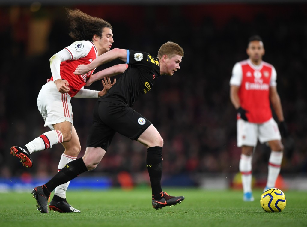 Guendouzi was given a hiding by Kevin De Bruyne. (Photo by Shaun Botterill/Getty Images)