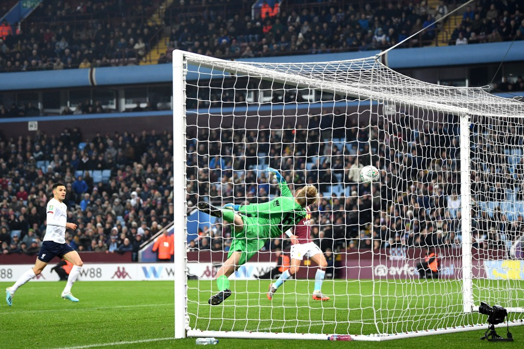 Boyes was unlucky to see the ball deflect off his leg and past Kelleher for Aston Villa's second. (Photo by Michael Regan/Getty Images)
