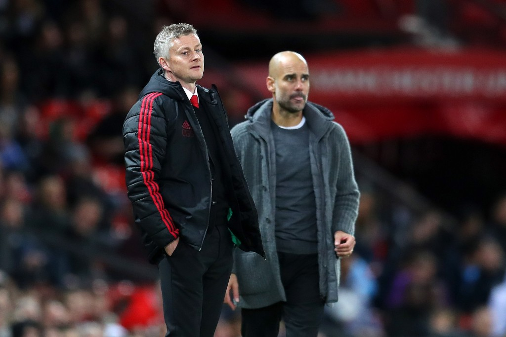 Solskjaer and Guardiola competing for Saul's signing (Photo by Catherine Ivill/Getty Images)