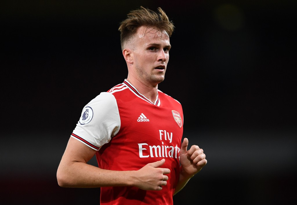 LONDON, ENGLAND - AUGUST 23: Rob Holding looks on during the Premier League 2 match between Arsenal and Everton at Emirates Stadium on August 23, 2019 in London, England. (Photo by Harriet Lander/Getty Images)