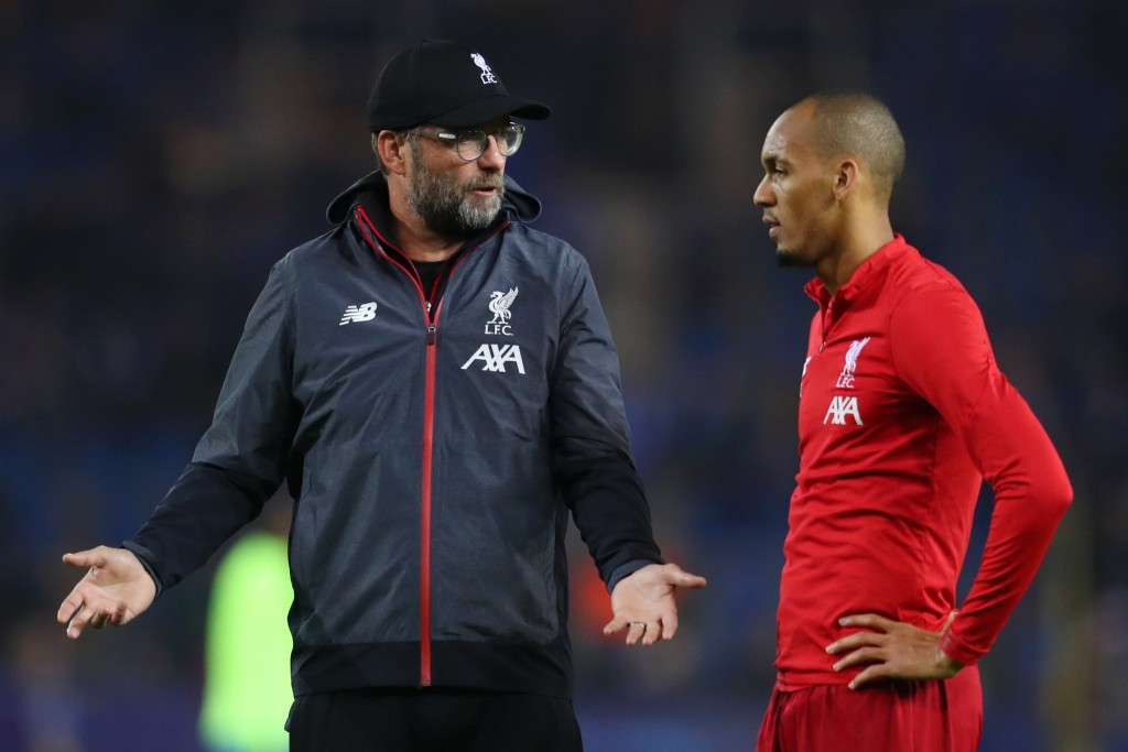 Fabinho is unavailable to take on Burnley. (Photo by Catherine Ivill/Getty Images)