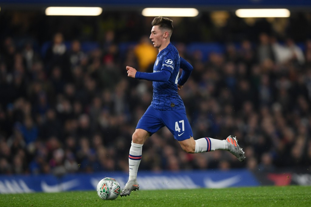 LONDON, ENGLAND - OCTOBER 30: Billy Gilmour of Chelsea in action during the Carabao Cup Round of 16 match between Chelsea and Manchester United at Stamford Bridge on October 30, 2019 in London, England. (Photo by Mike Hewitt/Getty Images)