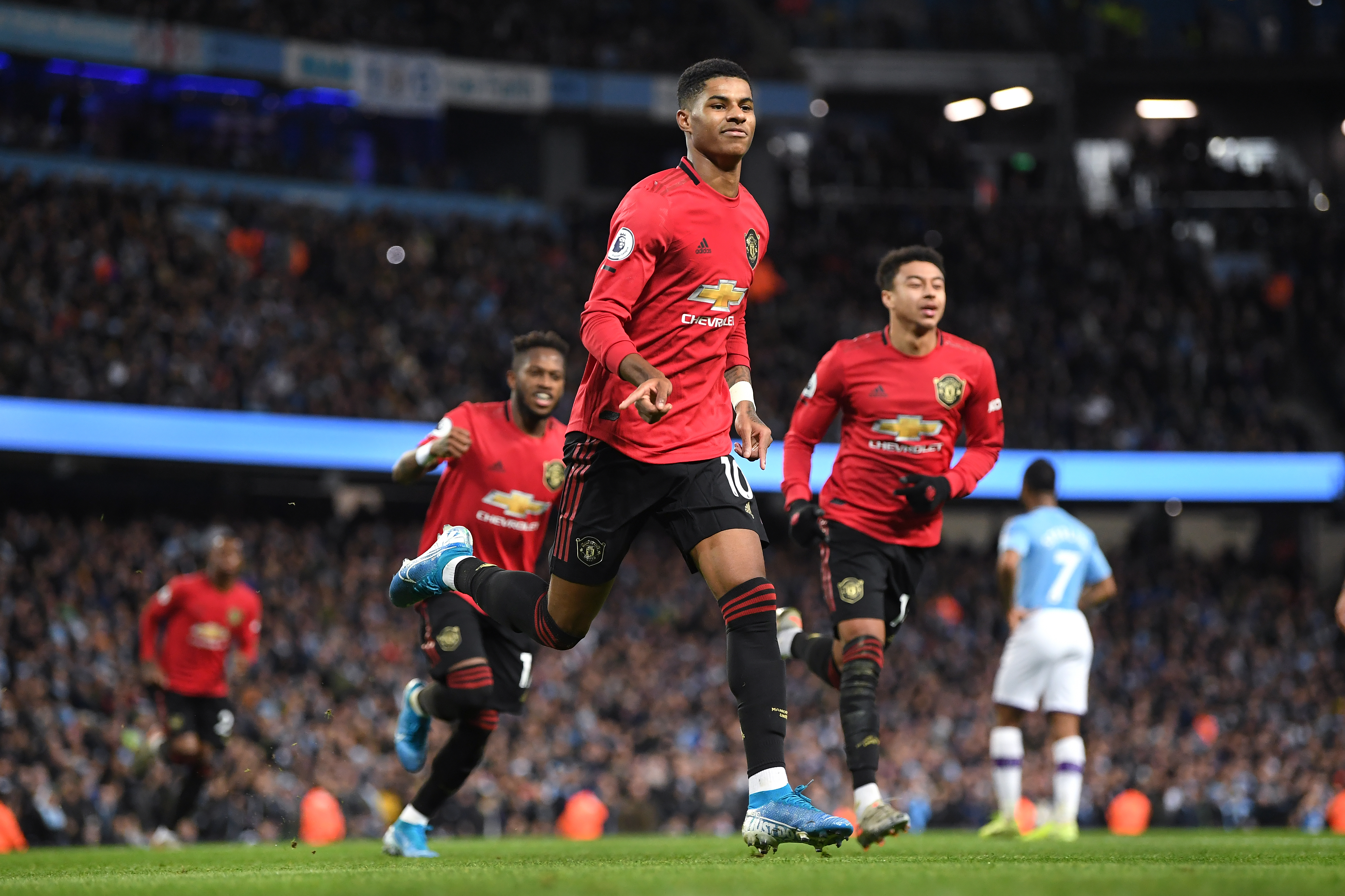 Manchester United put on a fine counter-attacking display to beat Manchester City 2-1 (Photo by Michael Regan/Getty Images)