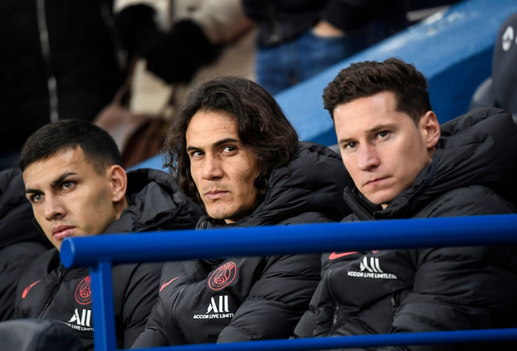 Edinson Cavani has spent more time on the bench than on the field this season. (Photo by Bertrand Guay/AFP via Getty Images)