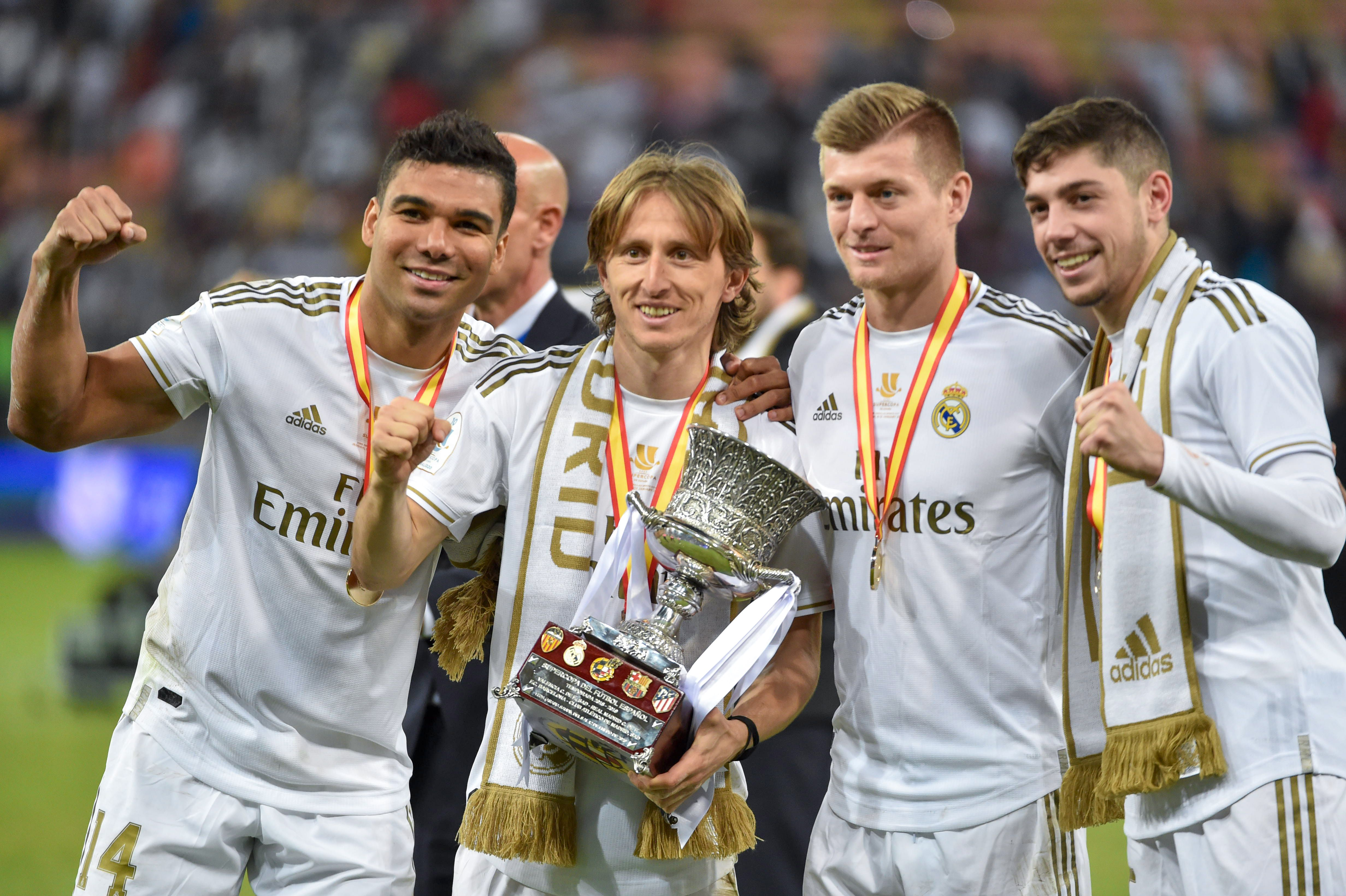 Casemiro, Modric and Kroos - an indomitable midfield partnership (Photo by FAYEZ NURELDINE/AFP via Getty Images)