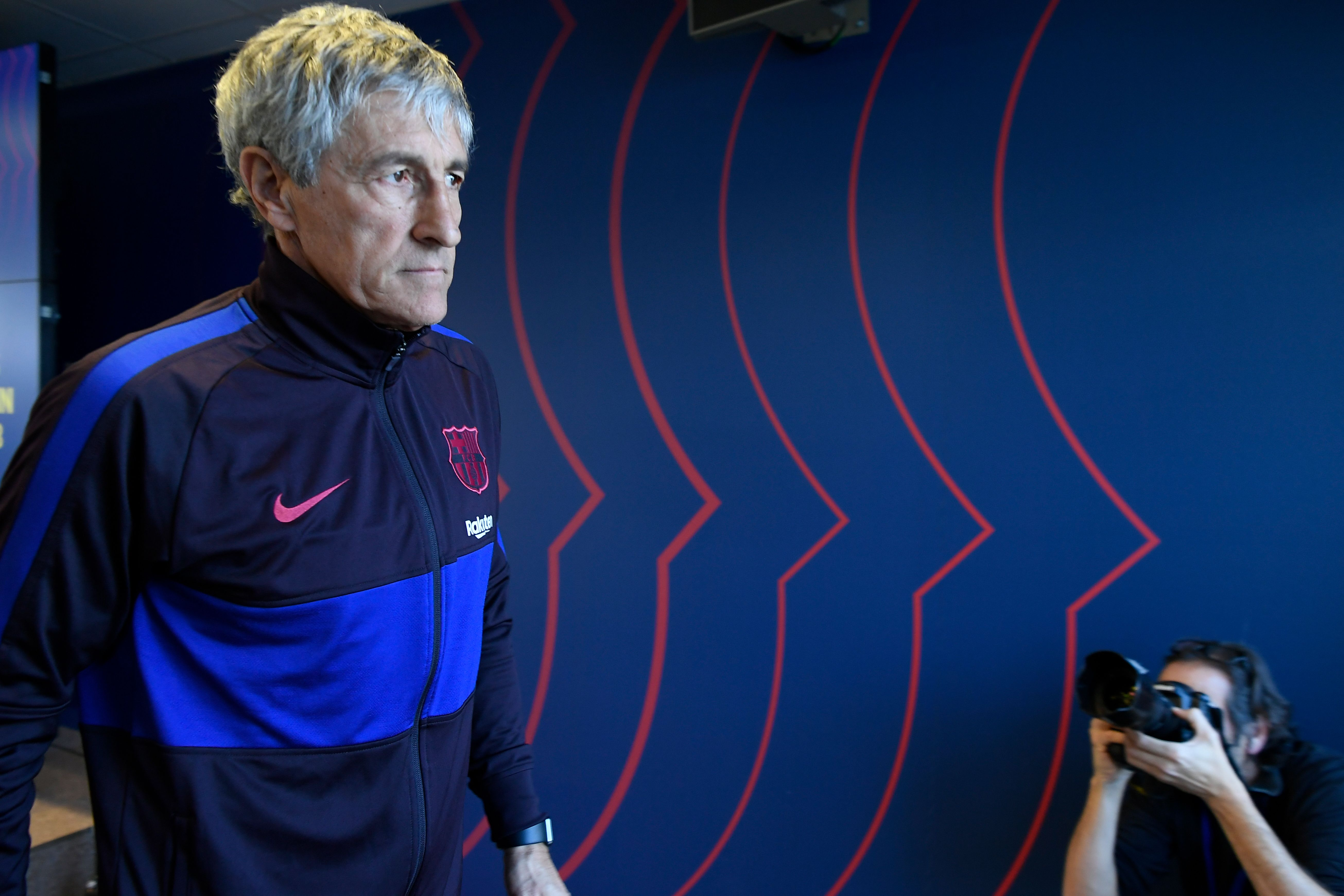 Quique Setien - The man to take Barcelona forward (Photo by LLUIS GENE/AFP via Getty Images)