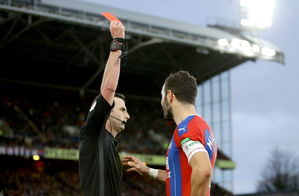 Luka Milivojevic is suspended after being sent off in the FA Cup. (Photo by Richard Heathcote/Getty Images)