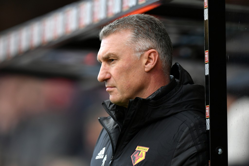 BOURNEMOUTH, ENGLAND - JANUARY 12: Nigel Pearson, Manager of Watford looks on during the Premier League match between AFC Bournemouth and Watford FC at Vitality Stadium on January 12, 2020 in Bournemouth, United Kingdom. (Photo by Dan Mullan/Getty Images)