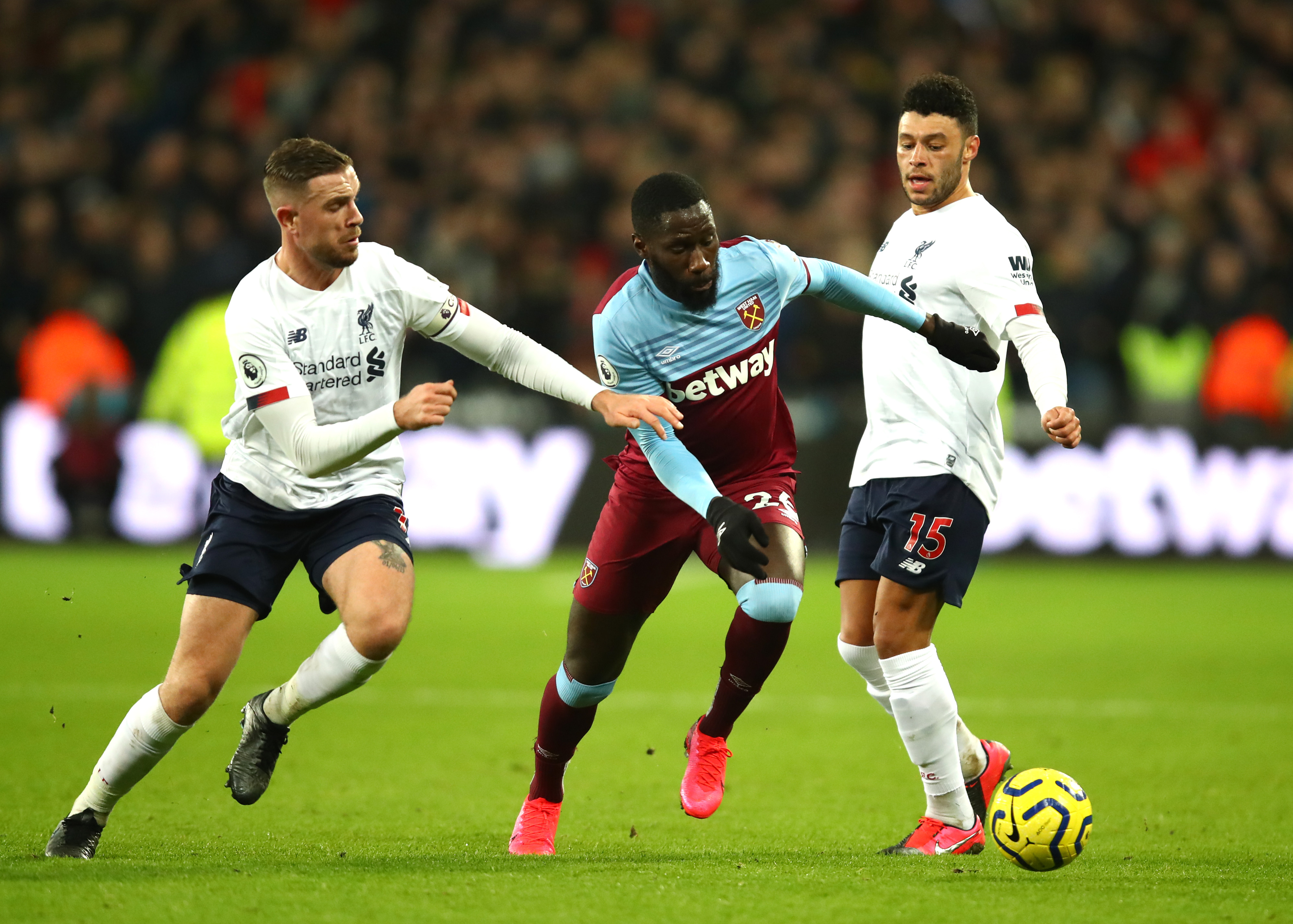 Arthur Masuaku will be unavailable for West Ham against Liverpool (Photo by Julian Finney/Getty Images)