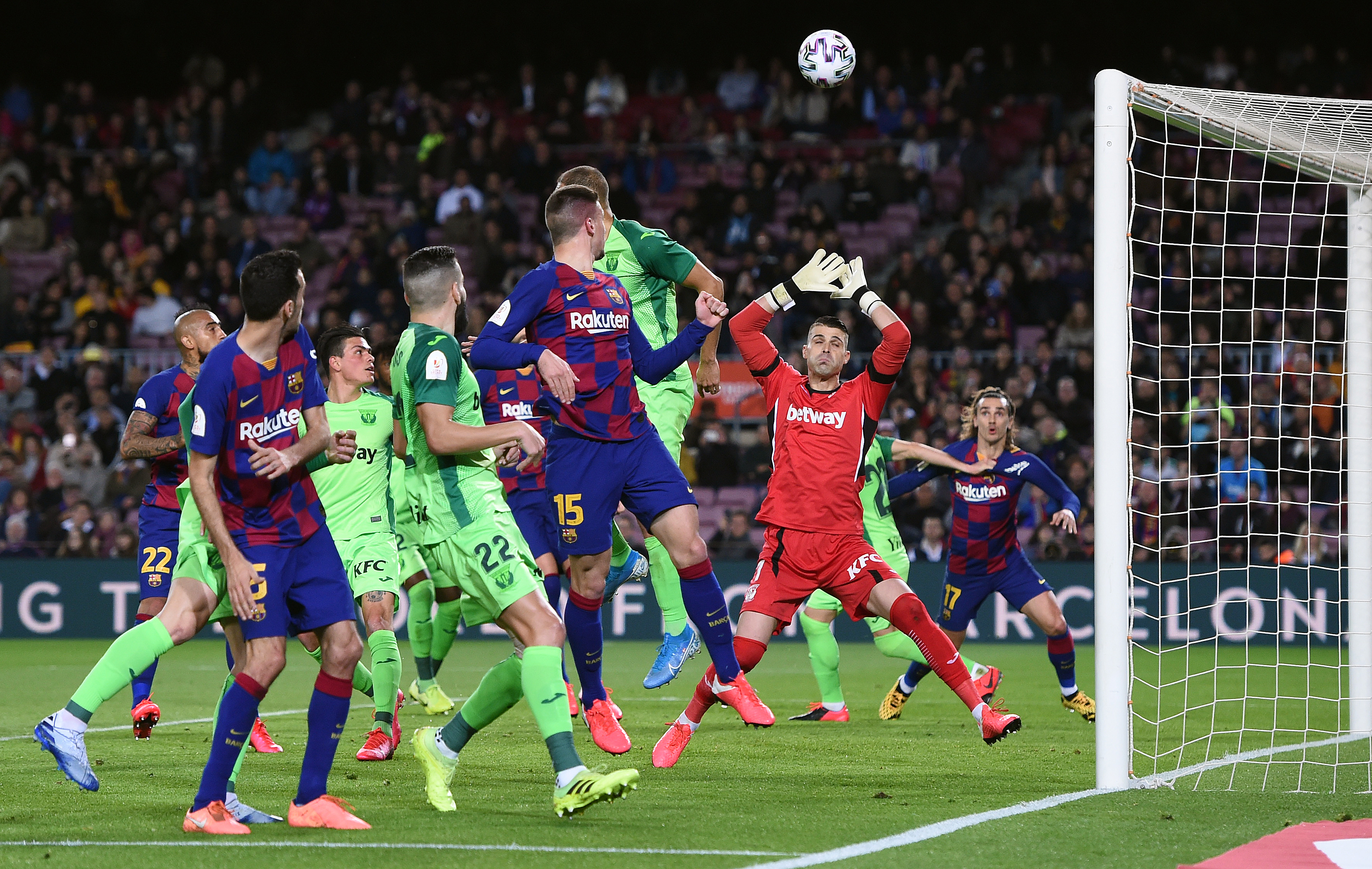 A brilliant header by Lenglet to score Barcelona's second. (Photo by Alex Caparros/Getty Images)