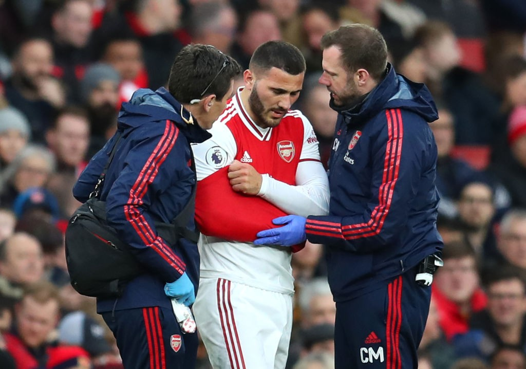 Kolasinac walked off with an injury early in the game (Photo by Catherine Ivill/Getty Images)