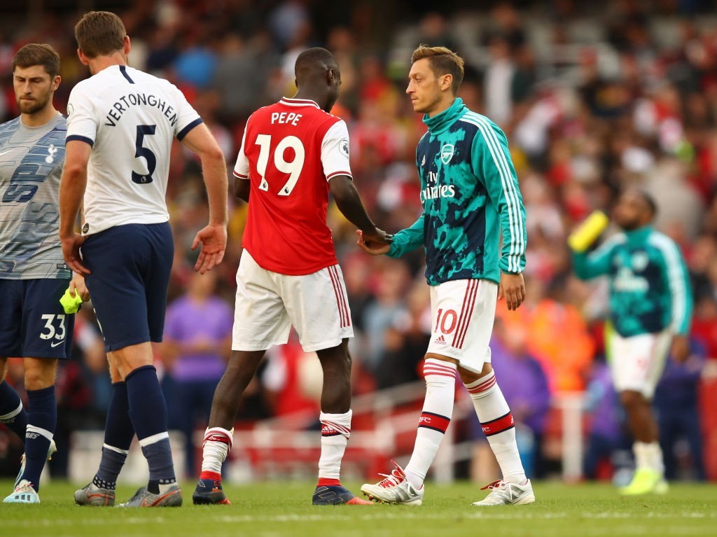 Mesut Ozil's exile from the team should continue, but Nicolas Pepe is likely to start for Arsenal against Watford. (Photo by Julian Finney/Getty Images)