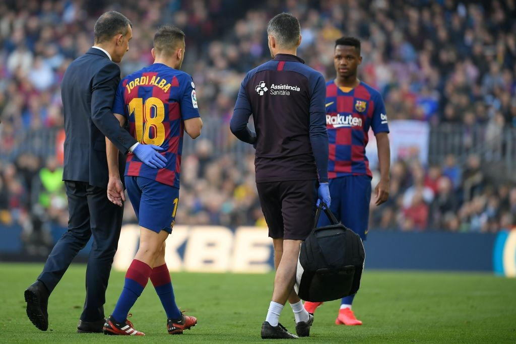 Alba's injury will be a major concern for Barcelona (Photo by LLUIS GENE/AFP via Getty Images)
