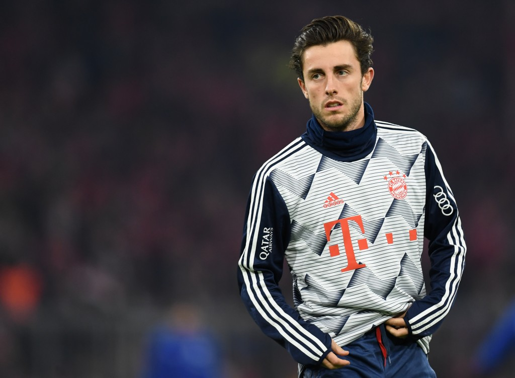 Bayern Munich's new Spanish defender Alvaro Odriozola warms up prior to the German first division Bundesliga football match Bayern Munich v Schalke 04 in Munich on January 25, 2020. (Photo by Christof STACHE / AFP) / DFL REGULATIONS PROHIBIT ANY USE OF PHOTOGRAPHS AS IMAGE SEQUENCES AND/OR QUASI-VIDEO (Photo by CHRISTOF STACHE/AFP via Getty Images)