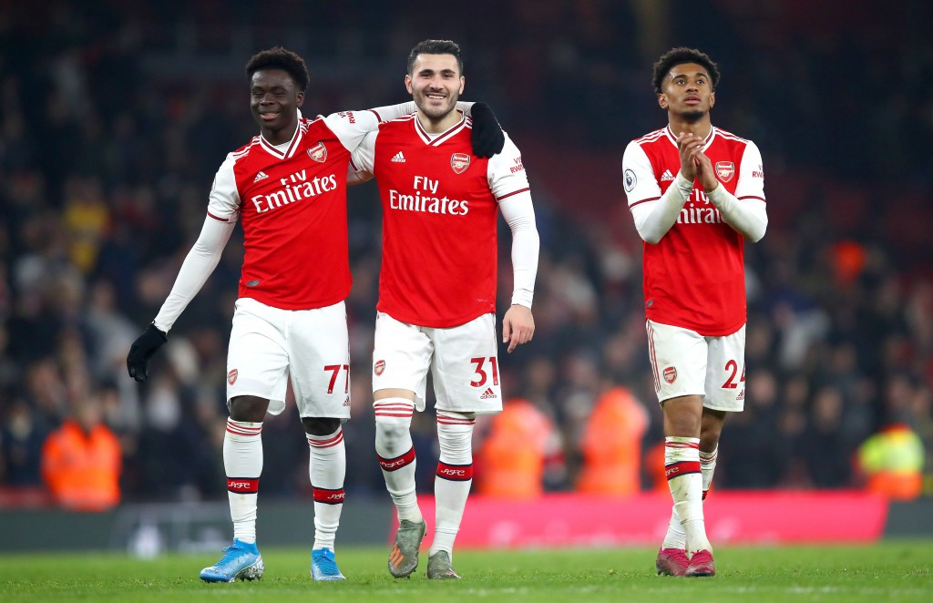 Bukayo Saka (L) could be replaced by the fit-again Sead Kolasinac (C) while Reiss Nelson (R) has also regained fitness. (Photo by Julian Finney/Getty Images)