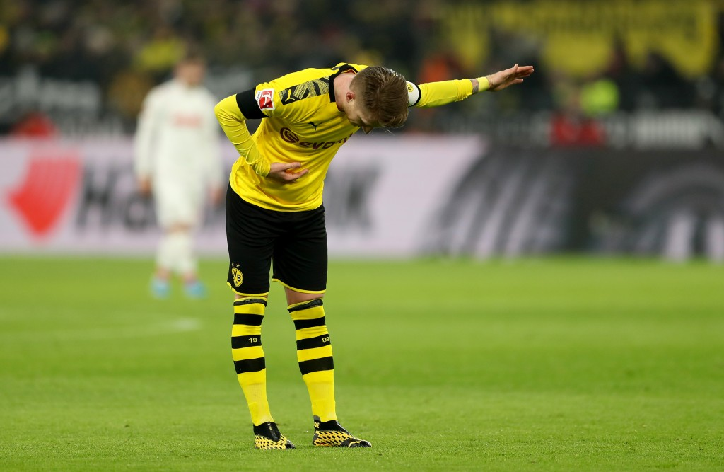 DORTMUND, GERMANY - JANUARY 24: Marco Reus of Dortmund celebrates after scoring his teams second goal during the Bundesliga match between Borussia Dortmund and 1. FC Koeln at Signal Iduna Park on January 24, 2020 in Dortmund, Germany. (Photo by Lars Baron/Bongarts/Getty Images)