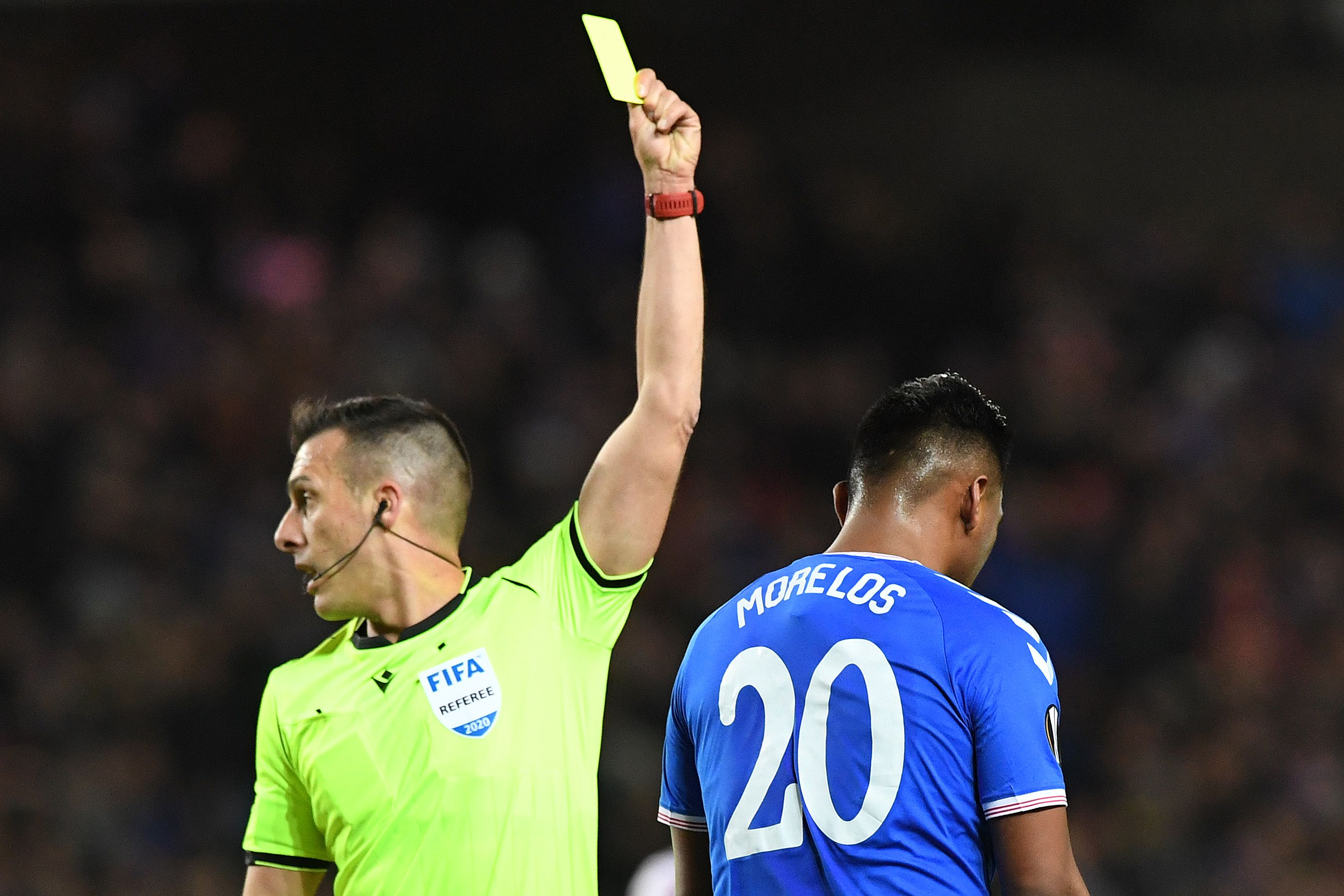 Rangers' star Alfredo Morelos is suspended (Photo by ANDY BUCHANAN/AFP via Getty Images)