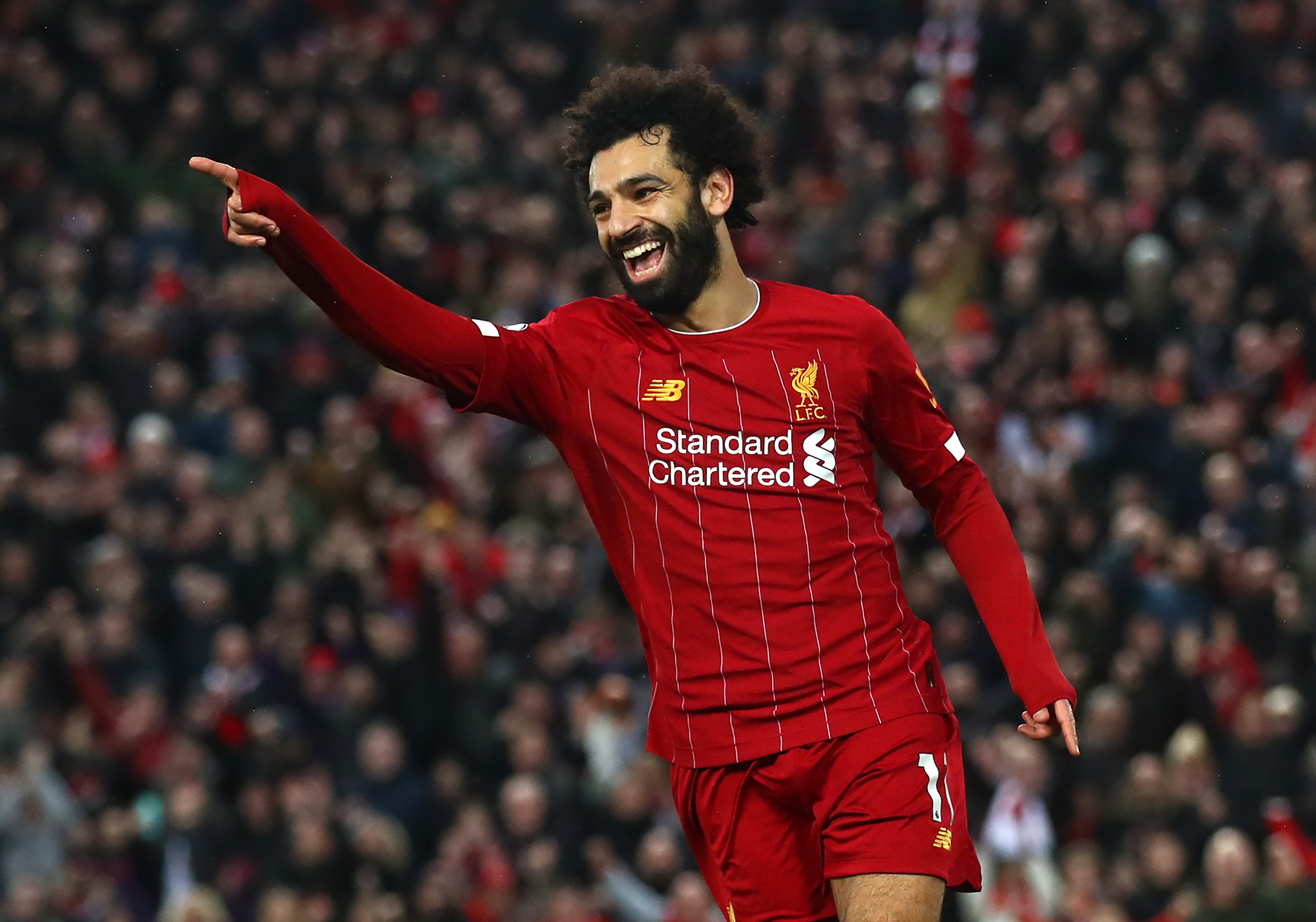 Salah took his PL goal tally to 14 for the season (Photo by Julian Finney/Getty Images)