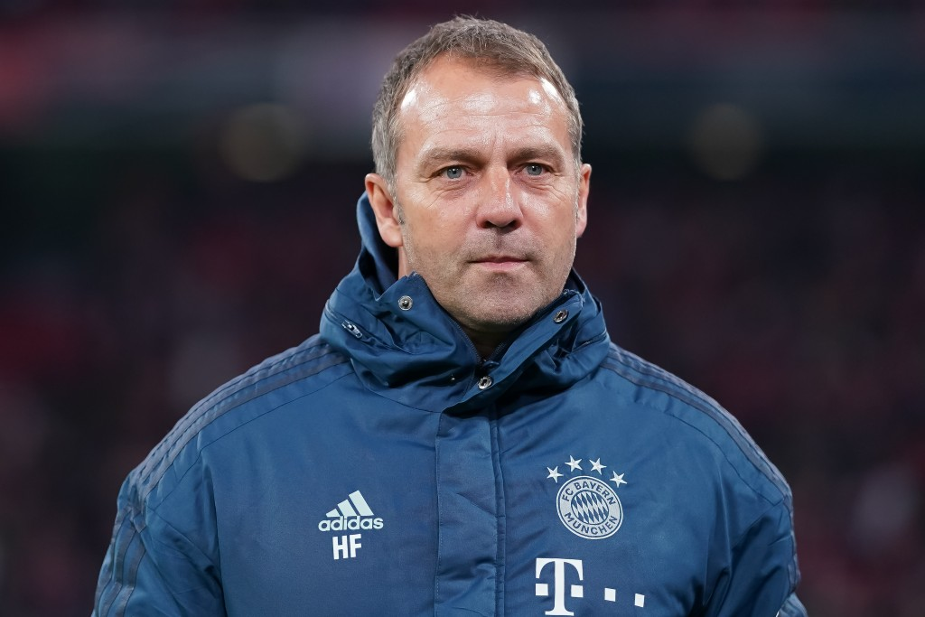 MUNICH, GERMANY - FEBRUARY 05: Hansi Flick, Head Coach of FC Bayern Muenchen looks on prior to the DFB Cup round of sixteen match between FC Bayern Muenchen and TSG 1899 Hoffenheim at Allianz Arena on February 5, 2020 in Munich, Germany. (Photo by Christian Kaspar-Bartke/Bongarts/Getty Images)