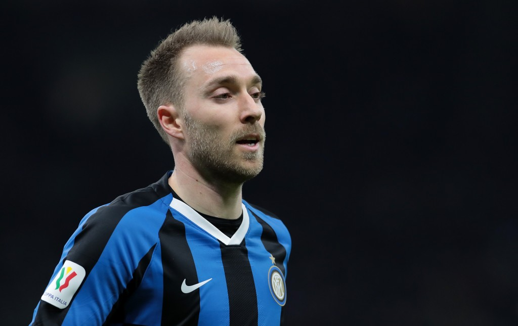 MILAN, ITALY - FEBRUARY 12: Christian Eriksen of FC Internazionale looks on during the Coppa Italia Semi Final match between FC Internazionale and SSC Napoli at Stadio Giuseppe Meazza on February 12, 2020 in Milan, Italy. (Photo by Emilio Andreoli/Getty Images)