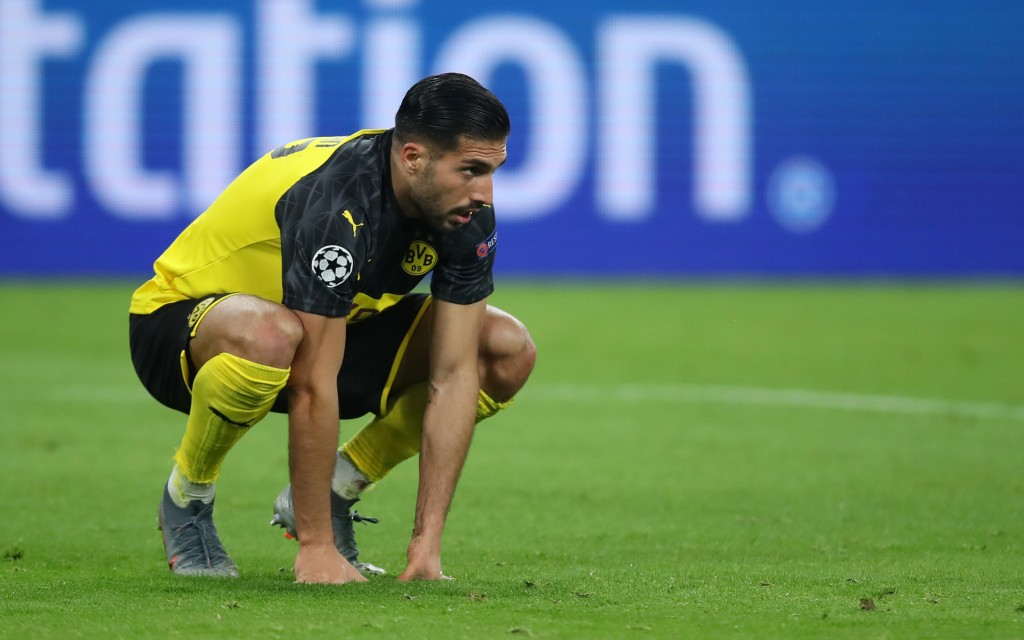 DORTMUND, GERMANY - FEBRUARY 18: Emre Can of Borussia Dortmund reacts during the UEFA Champions League round of 16 first leg match between Borussia Dortmund and Paris Saint-Germain at Signal Iduna Park on February 18, 2020 in Dortmund, Germany. (Photo by Alex Grimm/Bongarts/Getty Images)