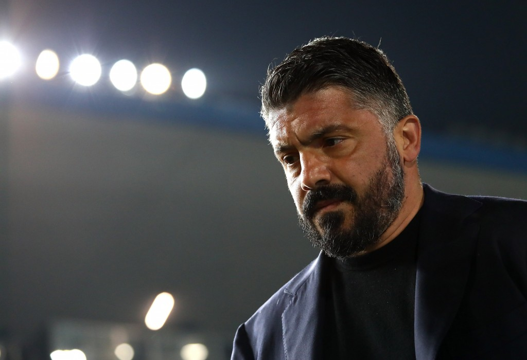 BRESCIA, ITALY - FEBRUARY 21: SSC Napoli coach Gennaro Gattuso looks on before the Serie A match between Brescia Calcio and SSC Napoli at Stadio Mario Rigamonti on February 21, 2020 in Brescia, Italy. (Photo by Marco Luzzani/Getty Images)