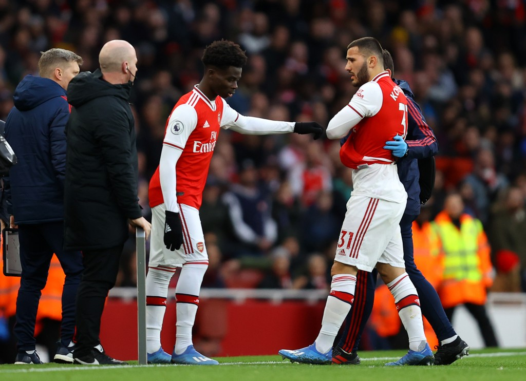 Bukayo Saka will come in for the injured Sead Kolasinac. (Photo by Julian Finney/Getty Images)